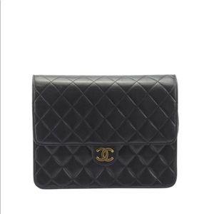 Classic Flap Push Lock Black Leather Shoulder Bag
